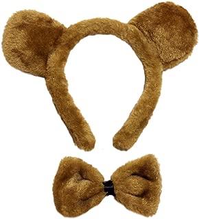 SeasonsTrading Brown Bear Ears & Bow Tie Costume Set - Halloween Costume Kit