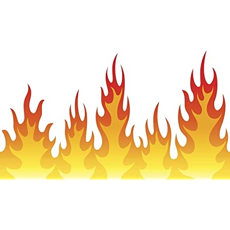 Amazon Com Ew Designs Cool Simple Fire Flames Cartoon Banner Vinyl Decal Bumper Sticker 12 Wide Automotive