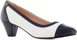 Andres Machado - Chaussures Bicolore d´été pour Femme/Adolescent en Soft avec Bout Arrondi - AM5357 - Escarpins Talons car...