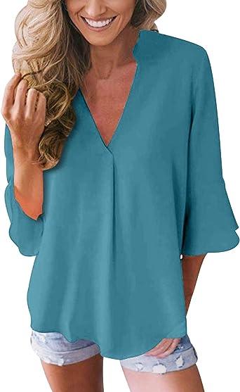 Blusas con Volantes Mujer Escote V Blusa Camisas Señora Top ...