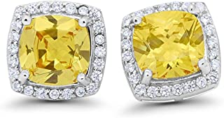 Halo Cushion Bridal Earrings Cushion Round Cubic Zirconia 925 Sterling Silver