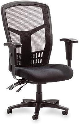Lorell Ergomesh 86000 Chair, Black Mesh Back/Black Fabric Seat