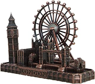 PROW UK London Bridge London Eye Big Ben Tower Bridge Red Copper Metal Architectural Model Statue,Home Decoration Art Collection Sculpture