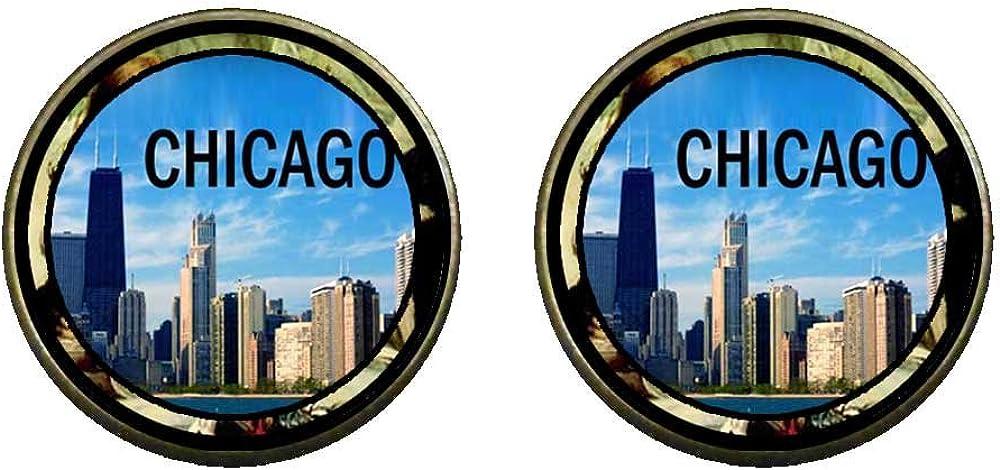 GiftJewelryShop Bronze Retro Style Chicago Photo Clip On Earrings 14mm Diameter