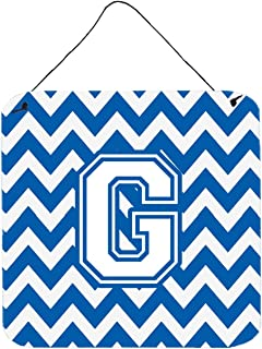 """Caroline's Treasures CJ1045-GDS66 Letter G Chevron Blue and White Wall or Door Hanging Prints, Multicolor, 6"""" H x 6"""" W"""