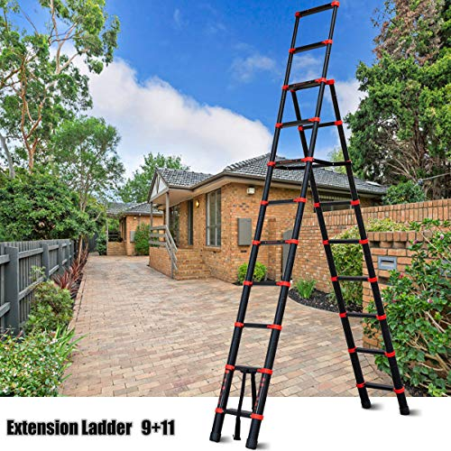 Telescoping Ladder A-Frame Aluminum Folding Extension Ladder Multi-Purpose Step Ladder(9+11 Stepers)
