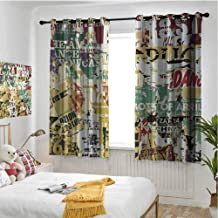 Retro 100% blackout lining curtain Grunge Style Collage Print of Old Torn Posters Magazines Newspapers Paper Art Print Full shading treatment kitchen insulation curtain W72 x L84 Inch Multicolor
