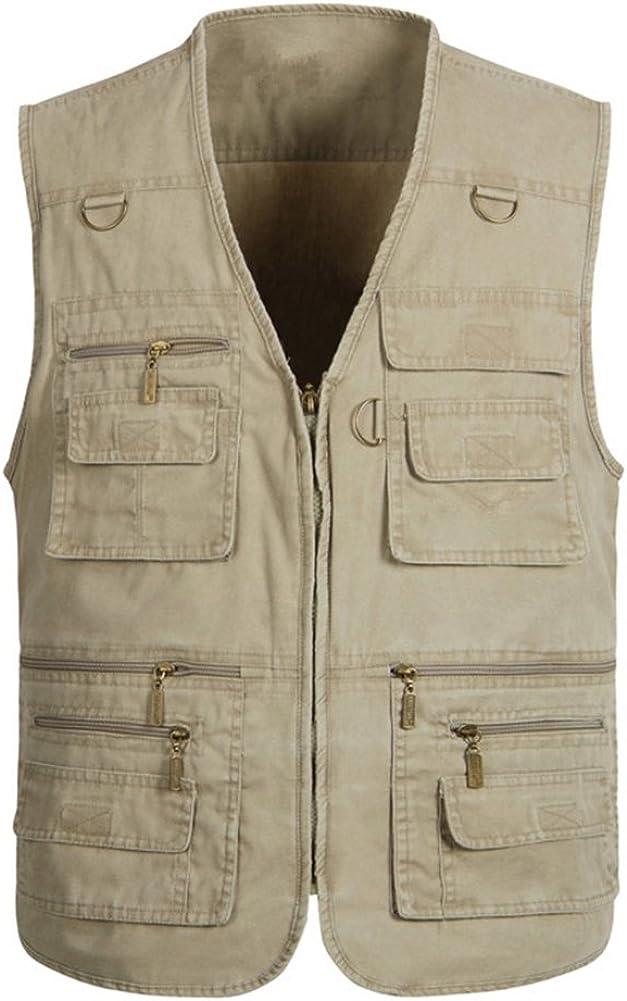 IDEALSANXUN Men's Multi-Pockets Outdoor Vest Sleeveless Jacket