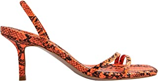 OLCHEE Women's Fashion Kitten Heel Sandals - Open Toe Snake Print Slingback