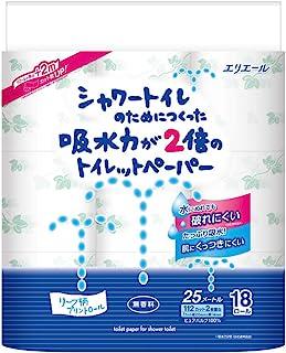 エリエール シャワートイレのためにつくった吸水力が2倍のトイレットペーパー 25m(112シート)×18ロールダブル パルプ100%