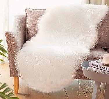 Ultra Soft Faux Sheepskin Fur Rug Fluffy Rug for Bedroom Fuzzy Carpet for Living Room Kid's Room Nursery Decor, White 2 x 6 Feet, Ciicool