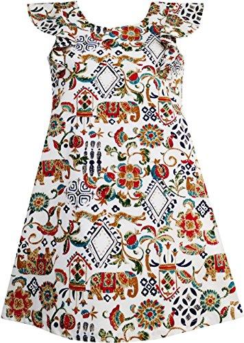HR42 Girls Dress Traditional Hand Drawing Print Elephant Tree Size 8
