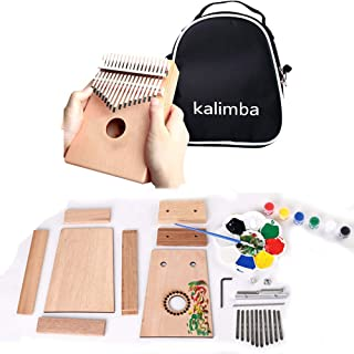 $21 » DIY Thumb Piano Kalimba 10 Key Assembly Wood Finger Piano 10 Tone Kalimba Mbira with Piano Bag/Installation Tools/Painting