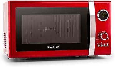 Klarstein Fine Dinesty - Mikrowelle, Mikrowellenofen mit Grill, Retro, Metall-Gehäuse, 23L Garraum, 800W Mikrowellenleistung, 1000W Grillleistung, Timer, 12 Programme, LCD-Display, rot