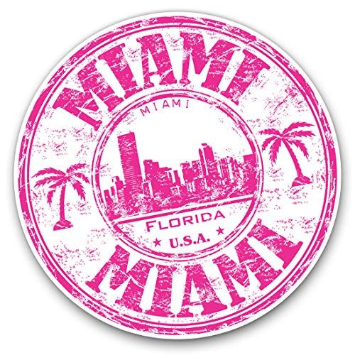 Vinyl Stickers (Set of 2) 10cm - Pink Miami Florida USA America Decals for Laptops,Tablets,Luggage,Scrap Booking,Fridges, 5829