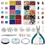 PandaHall Kit de fabricación de Joyas, 430 Piezas de 10 Colores de Cuentas de Piedra Natural de 110 g y 2 mm, Cuentas engarzadas, Anillos de Salto, Palillos de Hielo