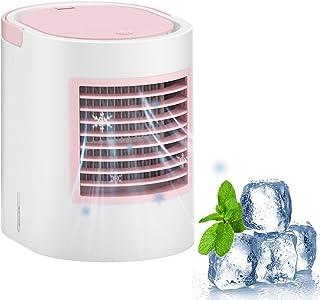 Delaspe Aire Acondicionado portátil, Mini refrigerador de Aire, Ventilador USB Personal, con luz, Adecuado para el hogar, el Exterior, la Oficina