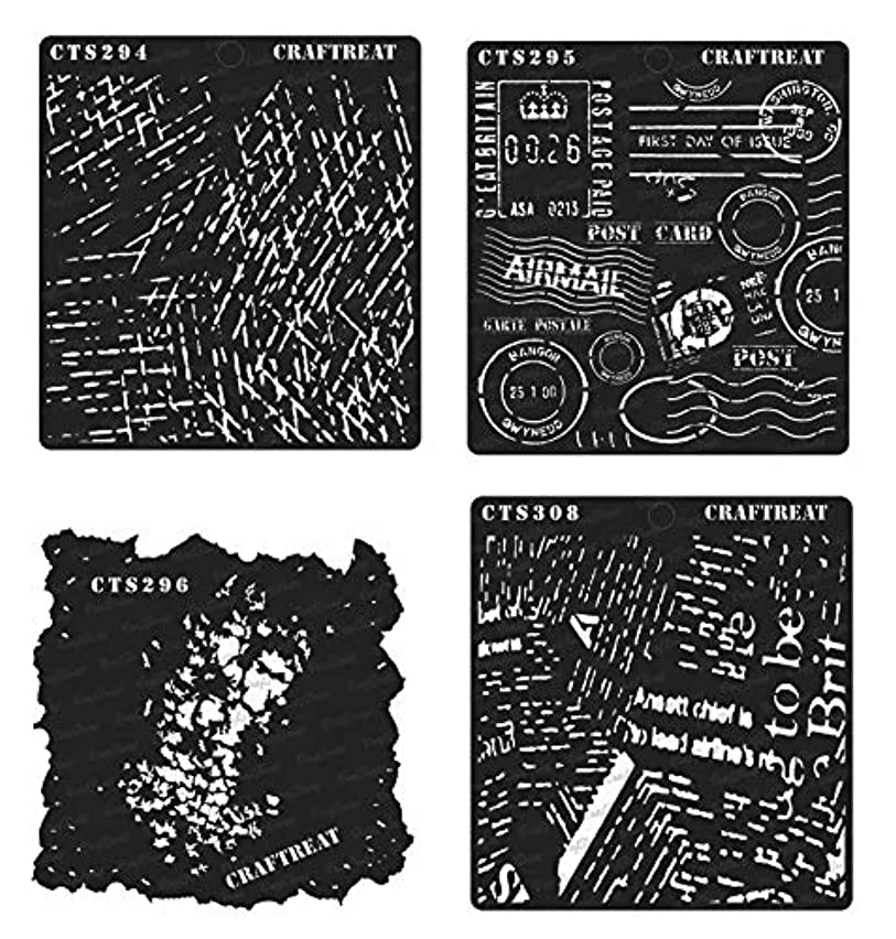 CrafTreat Stencil - Scratches, Postal, Grunge & Newsprint (4 pcs) | Reusable Painting Template for Home Decor, Crafting, DIY Albums and Printing on Paper, Wall Tile, Fabric, Wood 6