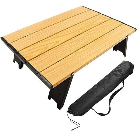 CARBABY アウトドアテーブル ミニローテーブル キャンプ テーブル 折畳テーブルアルミ製 超軽量 コンパクトソロキャンプ BBQ 登山 ツーリング お釣り おしゃれ 防災用品(木目