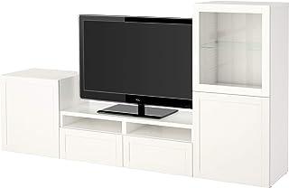 BESTÅ TV combinación de almacenamiento combinación/puertas de vidrio 240x40x128 cm Hanviken/Sindvik blanco cristal transpa...
