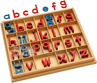 Elite Montessori Small Wooden Movable Alphabet with Box (Red & Blue, 5mm Thick)