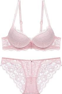 ملابس داخلية نسائية حمالات صدر رياضية مطبوع عليها ( B> مجموعة ملابس داخلية وحمالة صدر مثيرة للنساء (اللون: وردي، المقاس: 80C)