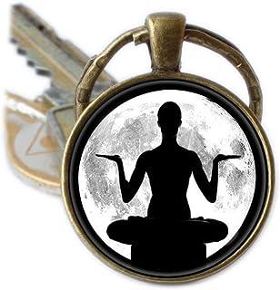 Yoga llavero llavero con diseño de luna llena de meditación Buda Zen clave cadena