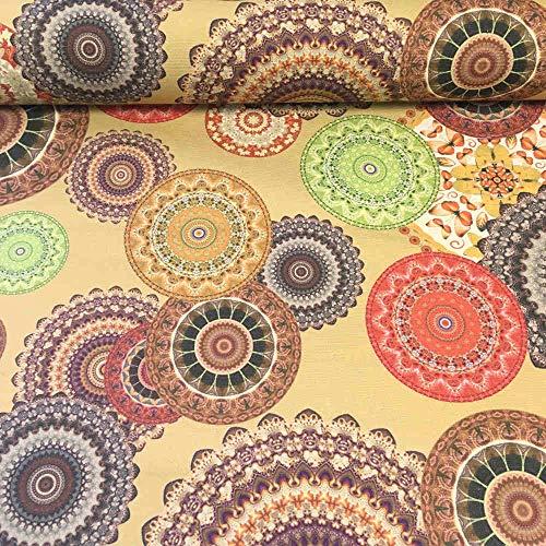 Tela de loneta estampada digital - Extra Panamá algodón - Retal de 100 cm largo x 140 cm ancho | Mandalas. Marrón dorado, naranja, verde ─ 1 metro