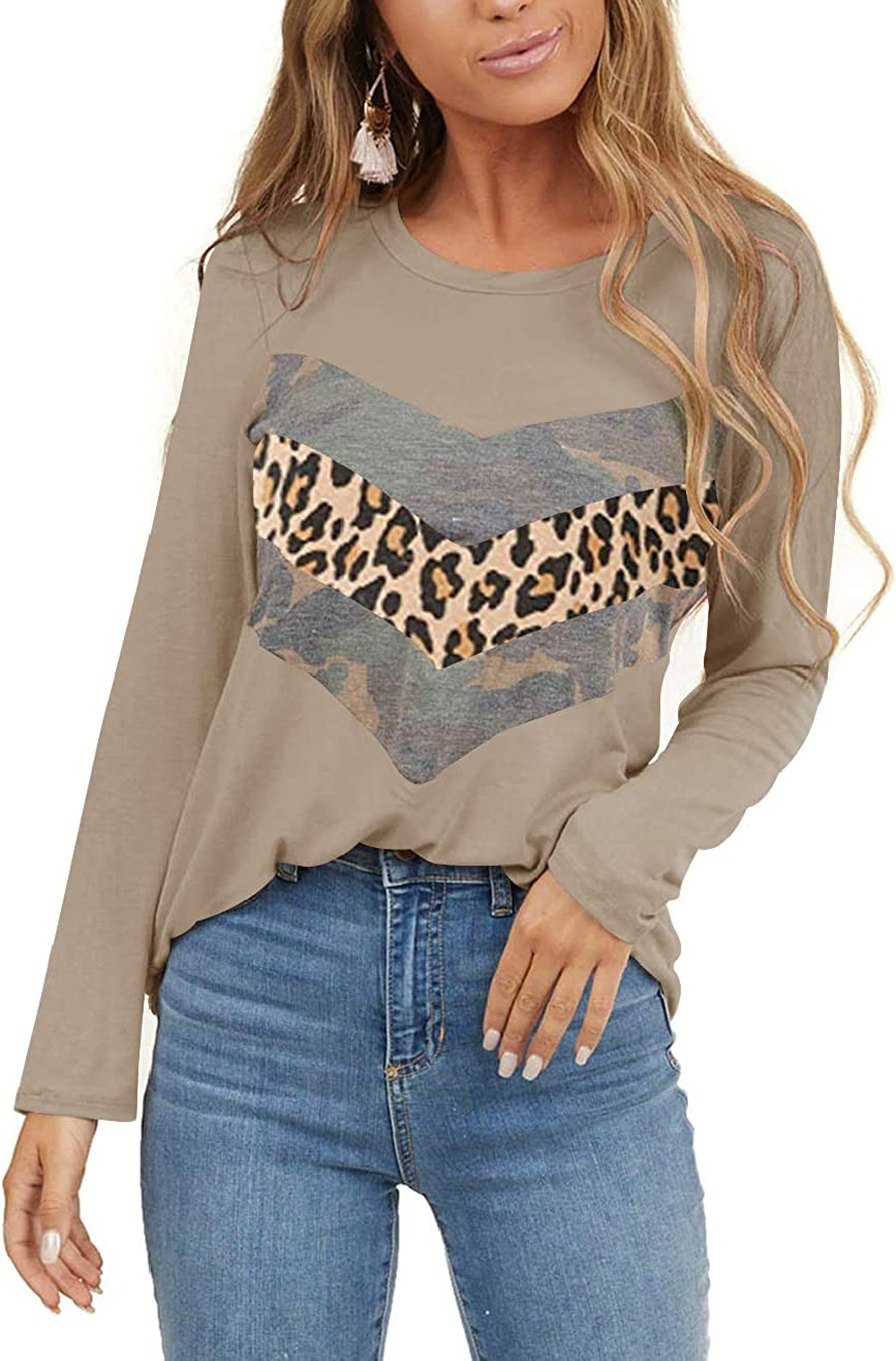 Limerose Women's Casual Leopard Print Tops Translated 2021 spring and summer new Neck Camo Crew