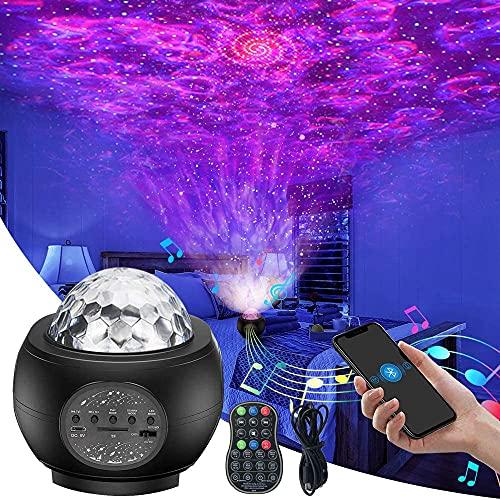 Ibello Proyector Estrellas Luz Nocturna Infantil, Lámpara Led con Bluetooth para Dormitorios, Bar, Teatro, Discoteca, Regalo Ideal para el día de los Reyes Magos, el Día de San Valentín