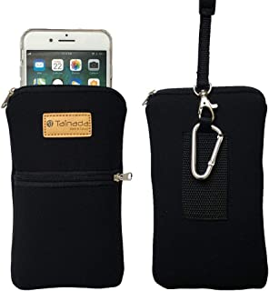 Tainada Men Women Phone Neoprene Shockproof Dual Zippered Sleeve Case Bag Pouch with Carabiner, Neck Lanyard Strap, Belt Loop Holster for iPhone 11, 11 Pro Max, XR, Samsung Note 10+, S10 (Black)