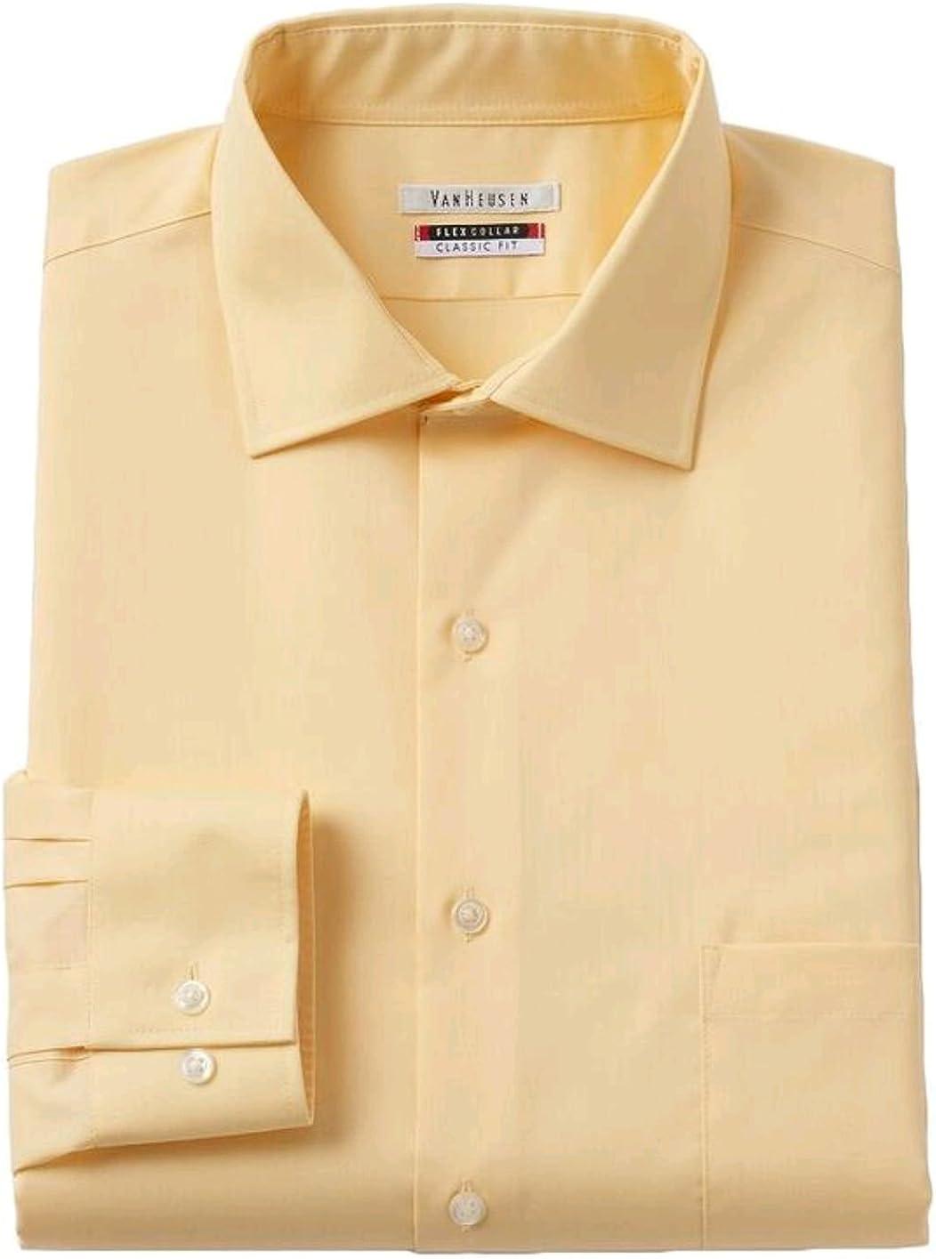Van Heusen Men's Flex Collar Classic-Fit Solid Dress Shirt, Buttercream