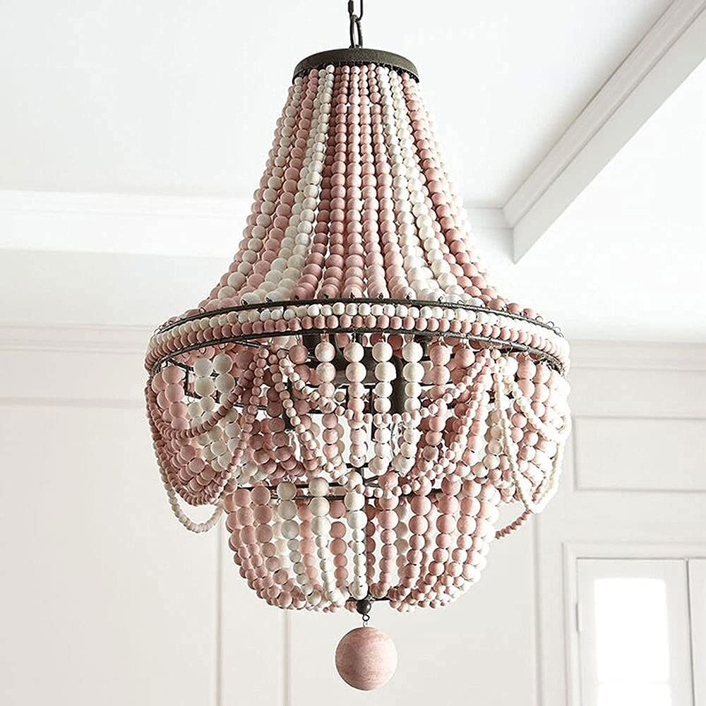 LXDZXY Chandeliers Cheap mail order sales Virginia Beach Mall Retro Lamp with Wooden Beaded Beads Chandeli