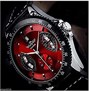 Amyove Winner Mens Sport Red Black Leather Date Automatic Mechanical Army Wrist Watch