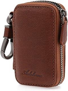 $21 » Sponsored Ad - AslabCrew Car Key Case Genuine Leather Keychain Holder Metal Hook and Keyring Zipper Bag for Remote Key, Na...