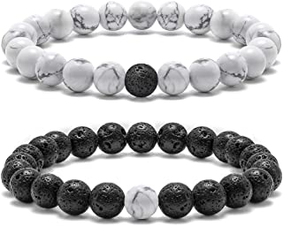 Lava Rock Couples Bracelet for Women - 8mm Natural Stone Bead Couples Bracelet for Men Women Stress Relief Yoga Bracelet Tiger Eye Stone Elastic Mens Bracelet Anxiety Healing Bracelet for Women Men