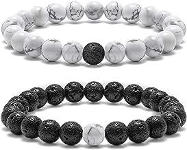 Lava Rock Couples Bracelet for Women - 8mm Natural Stone Bead Couples Bracelet for Men Women Stress Relief Yoga Bracelet Tiger Eye Stone Elastic Mens Bracelet Anxiety Healing Bracelet for Women Men