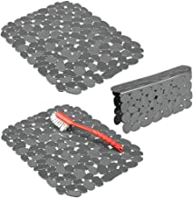 mDesign Adjustable Kitchen Sink Dish Drying Mat/Grid - Soft Plastic Sink Protector, Cushions Sinks, Dishes - Quick Draining Pebble Design - Includes 1 Saddle, 2 Large Mats Set of 3 Grey 04417MDKEU