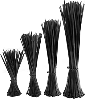 JUN-H 800 pcs Attaches de Câble Noires Collier Nylon Autobloquantes Attaches en Nylon Zip Wraps Attaches en plastique Util...
