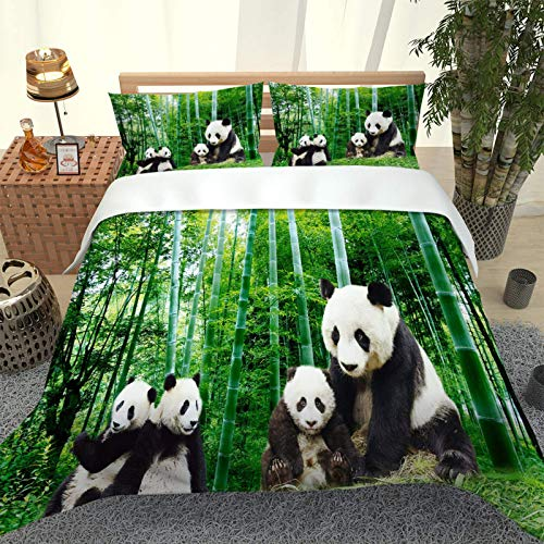 CLQPYQ Bedding Set Kids Single Duvet Set Panda Landscape In Green Bamboo Forest 3 Pieces Printed Pattern With 2 Pillowcases 50X75cm, Soft Hypoallergenic Microfiber Quilt Cover 135X200cm, With Zipper