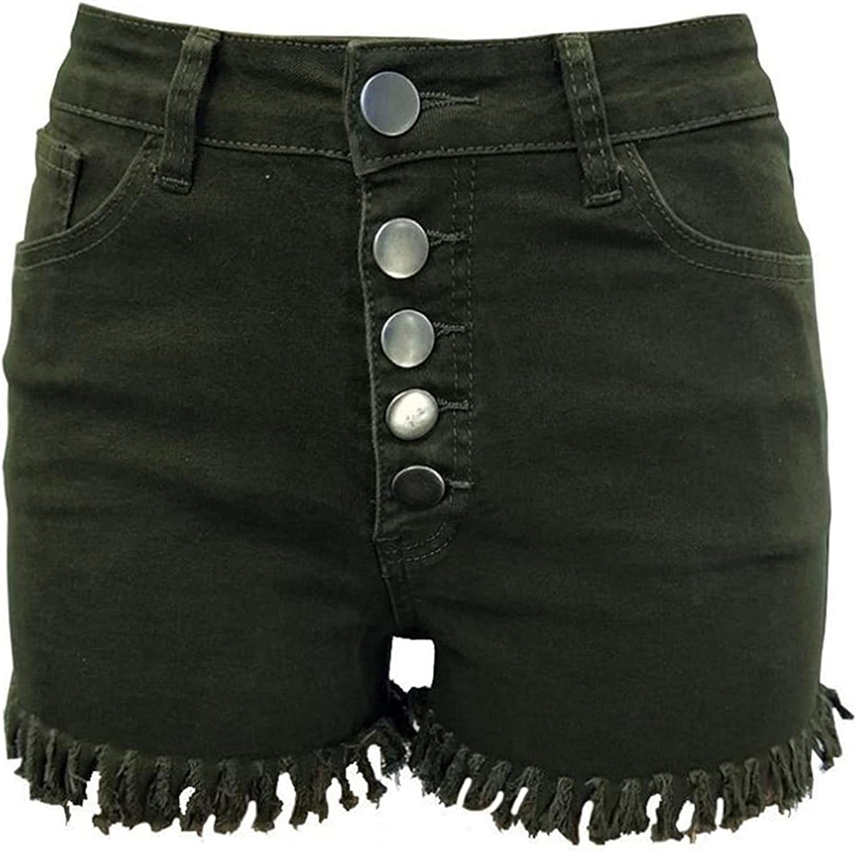 Women's High Waist Denim Shorts Buttoned Raw Hem Retro Boyfriend Short Fringed Distressed Casual Summer Hot Short Pants