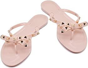 TAISFY Women Bow Rivets Flip-Flops Sandals Bowtie Jelly Thong Flats Rubber Beach Rain Slippers