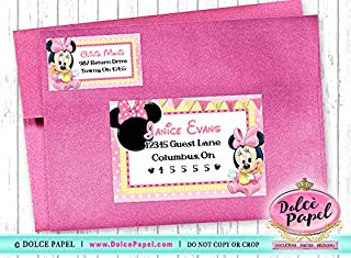 10 Baby Minnie Mouse Pink and Yellow Birthday Party RETURN & GUEST Address Labels
