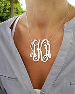 Statement Monogram necklace - Large Personalized Jewelry - 925 Sterling Silver, Gold or Rose