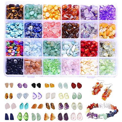 IVYSHION Edelstein Perlen zum Auffädeln 1403 Stück Edelsteine mit Loch 24 Farben Natursteinperlen Unregelmäßige Edelstein Schmuck Edelsteinperlen für DIY-Halsketten Schmuck (4-8mm)