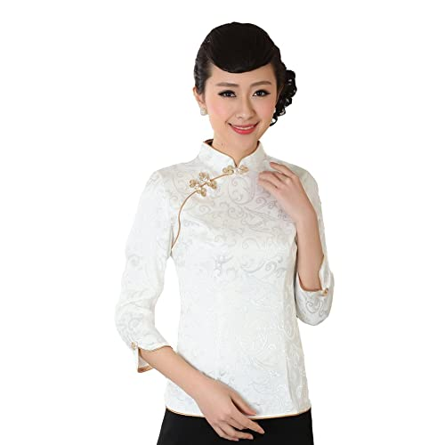 57f903830551c Jtc Women Chinese Cheongsam Style Three Quarter Sleeve Slopping Tops White