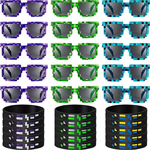 15 Sets Pixel Gamer Sunglasses Pixelated Sunglasses With Pixelated Miner Style Pixel Wristbands Bracelets Pixelated Theme Bracelet Birthday Party