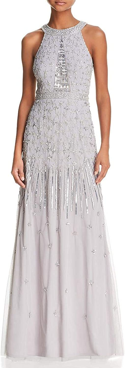 Adrianna Papell Womens Embellished Halter Evening Dress