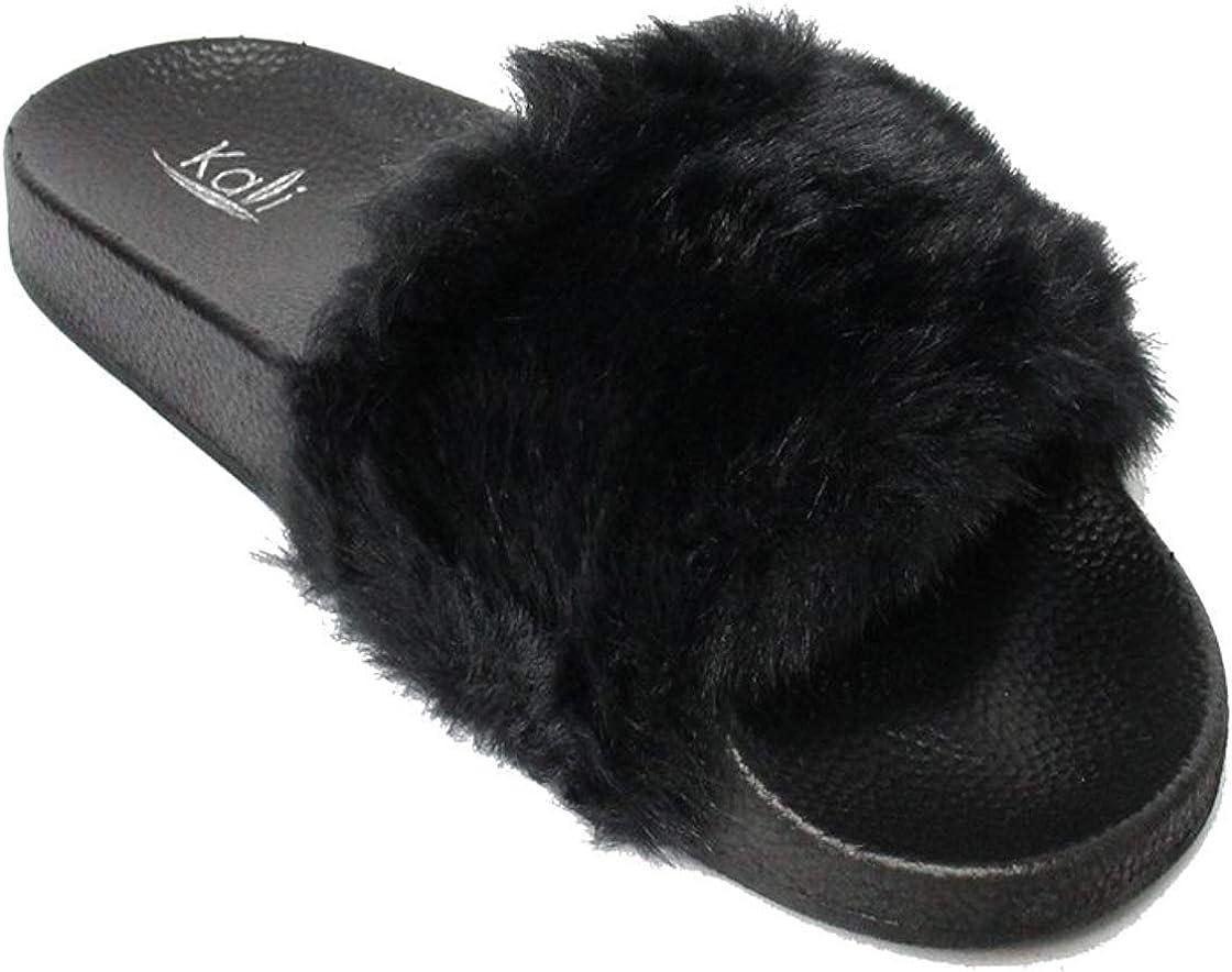Kali Footwear Women's Flip Flop Faux Soft Flat Nippon regular Indefinitely agency Slide Fur Slipper