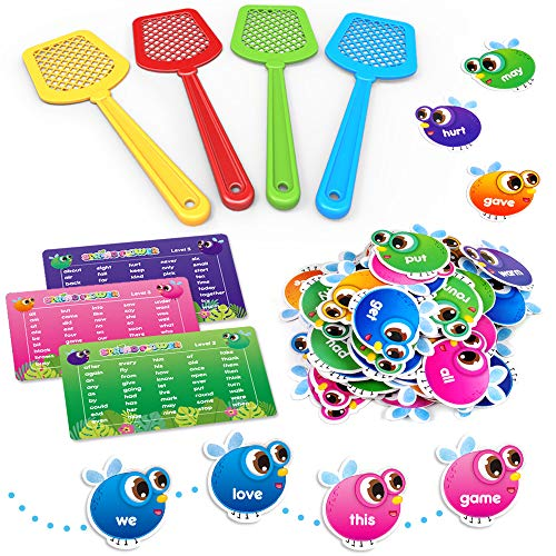 SpringFlower Sight Word Game Swat a Sight Word Educational Toy for Age of 3456 Year Old Kids Boys amp GirlsHomeschool Visual Tactile and Auditory Learning 120 Pieces